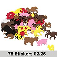Farm Animal Foam Stickers Pack of 75 Self Adhesive Cow Horse Pig Chicken