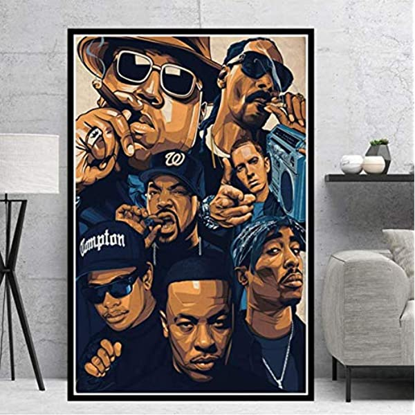 Tgbhujk Poster Prints Biggie Notorious 2pac Jay Z N W A Legend Star Collage Canvas Oil Painting Art Wall Pictures Living Room Home Decor 42 60cm Without Framed Amazon Co Uk Kitchen Home