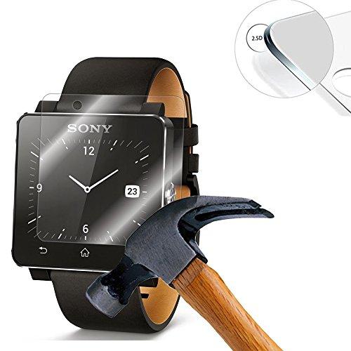 Lusee 2 X Pack Panzerglasfolie Tempered Glass Hartglas Schutzfolie für Sony SmartWatch 2 SW2 Zoll Folie Protector Bildschirmschutz 0,3mm 9H 2.5D (Nur den flachen Teil abdecken)