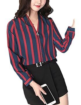Bandas sueltas V cuello gasa blusas Red One Size