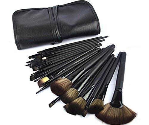 HZS Ensemble de Brosse à Maquillage Maquillage Set de Brosse à Maquillage 32 pièces Ensemble de Maquillage pour Maquillage Maquillage Naturel Kabuki Maquillage avec Sac en Cuir Souple (Noir)
