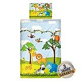 Aminata Kids Kinderbettwäsche Dschungel, Safari, Tier-Motiv, Kinder, Jungen, Mädchen, Baby Bettwäsche-Set 100 x 135 cm - Baumwolle, bunt, weich, kuschelig, Reißverschluss