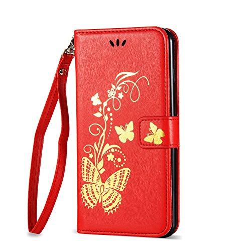 Goldene Blumen Schmetterling geprägt Muster Solid Color PU-Leder Tasche Flip Magnetische Silikon-Cover Wallet Stand Case mit Handschlaufe für iPhone7 Plus ( Color : Golden , Size : IPhone 7 Plus ) Red