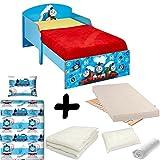 BEBEGAVROCHE Komplettpaket Bett Junior Thomas und seine Freunde = Bett + Matratze & Bettwäsche + Bettdecke + Kissen Thomas