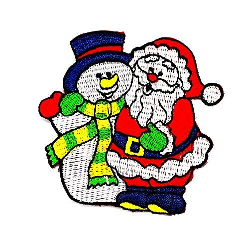 rabana Anwendung Weihnachten Santa Claus Schnee mit Geschenken Cartoon Kids Kinder Cute Animal Patch für Heimwerker-Applikation Eisen auf Patch T Shirt Patch Sew Iron on gesticktes Badge Schild (Diy Kostüme Santa)