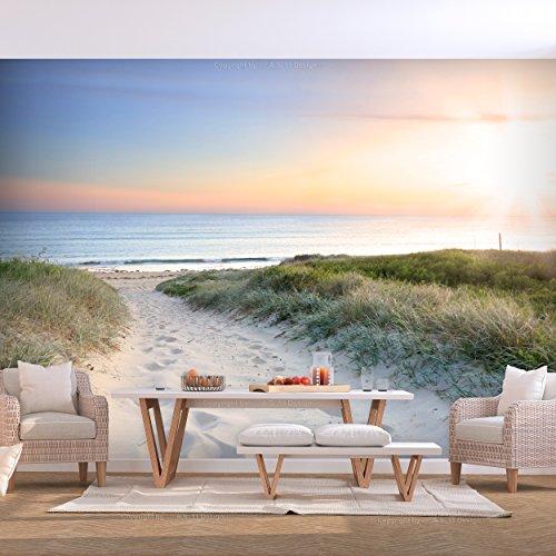 decomonkey | Fototapete Meer blau 250x175 cm | VLIES TAPETE | moderne Wanddeko | Riesen Wandbild | Design | Fototapeten | Wandtapete | Landschaft Strand Wasser Natur beige Sand | FOA0008a5XL