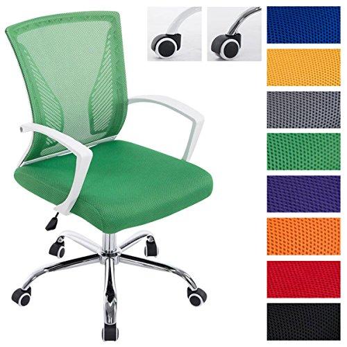 Clp sedia da ufficio girevole tracy colorata | sedia da scrivania comoda | sedia direzionale con rivestimento in rete dotata di braccioli | sedia pc imbottita con telaio in metallo | max capacità di carico 136 kg telaio cromato, fodera verde