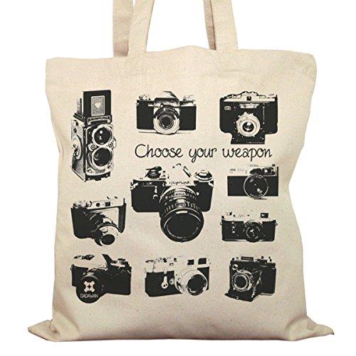Tote Bag Imprimé Ecru - Toile en coton bio - Appareils Photos Vintage