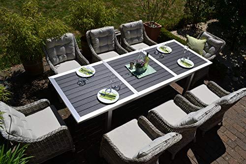 bomey Essgruppe Stockholm in Edelstahllook I 8-teilige Garnitur I Rattan-Sessel Set bestehend aus acht Sesseln in Grau und Polstern in Beige I Aufziehbarer Tisch für Garten + Terrasse + Wintergarten