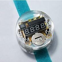ILS - DIY LED Digital Reloj electrónico del Reloj del Kit con Tapa Transparente