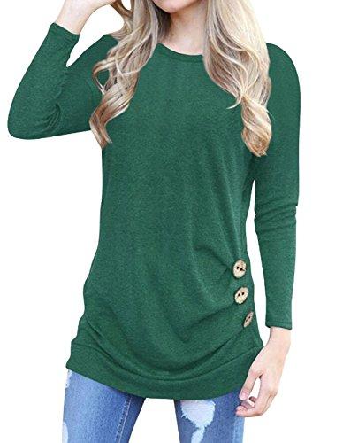 Eforyou Damen Langarm T-shirt Rundhals Ausschnitt Casual Asymmetrisch Bluse mit Zierknöpfe Herbst Einfarbige Oberteil Tops (Langarm Top Hat T-shirt)