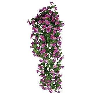 Vid de Flor Margarita Artificial Colgante Decoración para Boda Hogar -Púrpura
