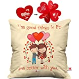 indibni Good Things In Life Are Better With You Cushion Cover 12x12 with Filler - Peach Attractive Gift for Him Her Husband Wife