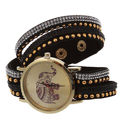Reloj de pulsera - SODIAL(R)Reloj de pulsera de cuero de imitacion de multi capa de remaches de esfera de elefante para mujeres negro