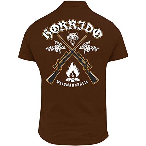 Männer und Herren POLO Shirt Horrido & Waidmannsheil (mit Rückendruck) Braun