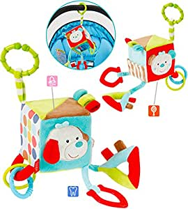 Rayures et points Fehn activité Cube en peluche Chien/Teddy pour garçons