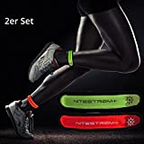 ZNEX LED Armband Leuchtarmband für Sport & Outdoor, 2er Set rot/grün. Hell leuchtendes LED Jogging Fahrrad Licht Warnlicht Blinklicht für hohe Sichtbarkeit im Dunkeln