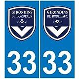 2 Autocollants Plaque Immatriculation Auto Département 33 Blason Girondins de Bordeaux Foot