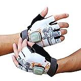 LKJCZ Fahrradhandschuhe, Mountainbike-Handschuhe Mit LED-Turn Signalen, Halb Finger-Outdoor-Handschuhe Mit Anzeigeleuchten, Radfahren, Fitnessstudio, Sport,White+Orange,L