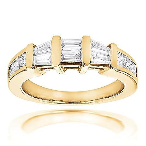 Luxurman Ladies Princess and Baguette Diamond 14k Wedding Engagement Band (Yellow Gold Size 5.5)