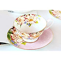 Set de regalo Vintage Fine Bone China taza de té cuchara y platillo conjunto dorado fina de acero mesa de comedor y decoración Pink Rose
