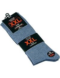 Lot de 6 paires de chaussettes - coton - homme - bleu uni- taille XXL (47/50)