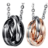 Best Couple Necklaces - Cupimatch 2PCS Triple Rings Interlocking His& Her Matching Review