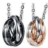 Cupimatch 2PCS Herren Damen Edelstahl verflochtene Ringe Anhänger Paar Halskette mit Gravur Strass, mit 45cm, 50cm Kette
