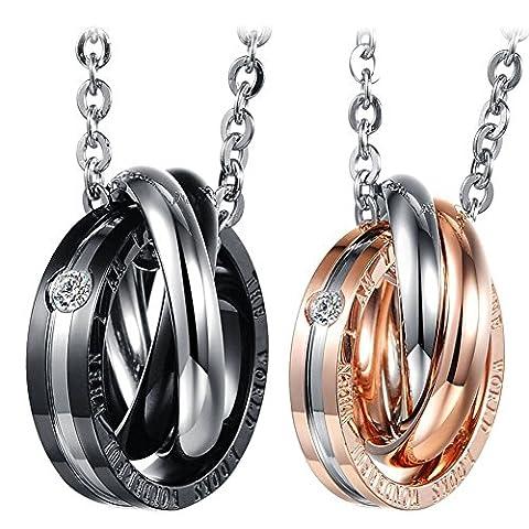 Cupimatch 2PCS Herren Damen Edelstahl verflochtene Ringe Anhänger Paar Halskette mit Gravur Strass , Weihnachten Valentine Geschenk mit 45cm, 50cm Kette