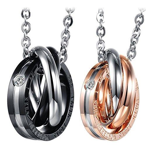 Cupimatch - Juego de 2 collares para parejas con colgante de anillos entrelazados, 45,72 y 50,8 cm, acero inoxidable