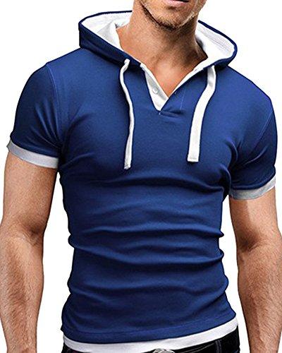 Maglietta T-Shirt Con Cappuccio Manica Corta Uomo Blu