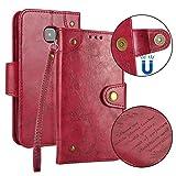 Samsung Galaxy S6 / G920 Hülle Leder Retro, Lomogo Schutzhülle Brieftasche mit Kartenfach Klappbar Magnetverschluss Stoßfest Kratzfest Handyhülle Case für Samsung Galaxy S6 - LOHHA10223 Rot