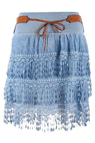 Tendance Style Damen Minirock Sommerrock Kurz Stufenrock Freizeitrock Häkel Deko Fransen (One Size/34-40, Jeansblau) (Mädchen Muster Stufenrock)
