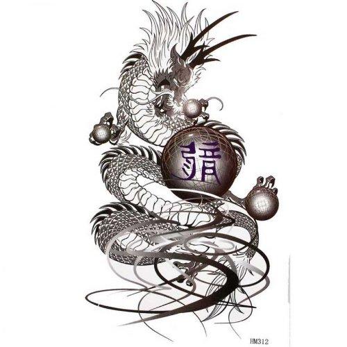 Autoadesivo del tatuaggio uomini e donne stagne moda sexy tatuaggio del drago nero