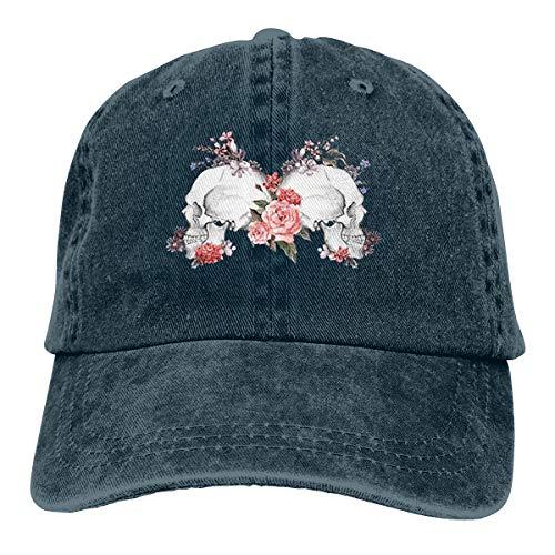 Wfispiy Roses Skull Day- Dead Vintage Verstellbare Gewaschene Vintage Baseballmützen Trucker Hat (Männer Owl Hat)