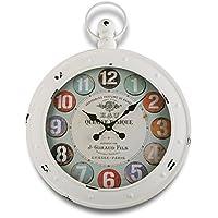 Versa 18190053 Reloj de Pared Vintage Blanco, 79x5x60, Metal, Blanco, Multicolor