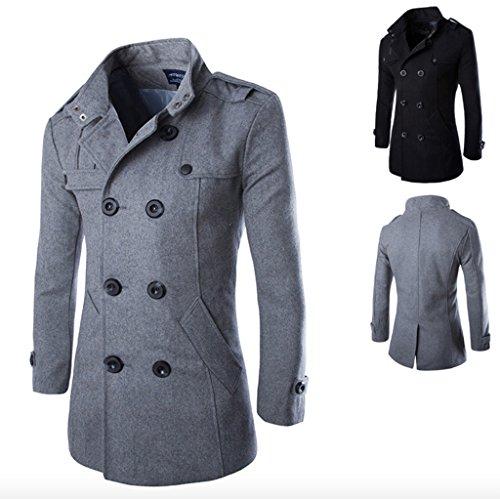 Elonglin Homme Caban Manteaux Mi-Long Double Boutonnage Blazer Costume Pardessus Veste Blouson Gris Clair