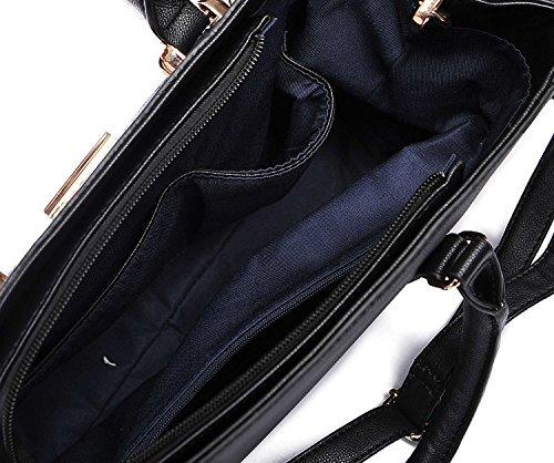 Stylische Damen-Handtasche PU-Leder Schwarz Blau Grau für Frauen Mädchen Schultertasche Modisches Kunstleder Blau
