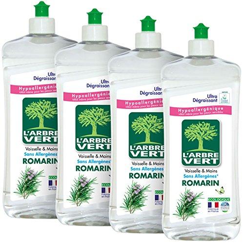 L'ARBRE VERT Liquide Vaisselle Main Romarin 750 ml - Lot de 4