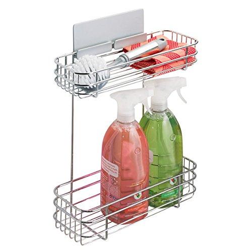 mDesign rangement mural AFFIXX pour liquide vaisselle, éponge, etc. – porte éponge auto-adhésif avec deux niveaux – porte savon mural en métal sans perçage – arg