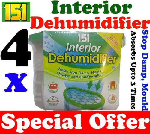 4 x Interior Portable Dehumidifier / De Humidifier Stop Moisture Damp Remover Mould Mildew Condensation Air Freshner Caravan Car Boat Home Office by 151