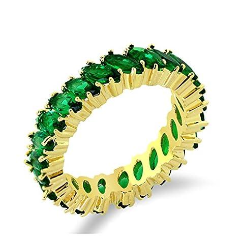 Bishilin Vergoldet Damen Eheringe Hochzeitringe Ringe Smaragd(Labor Erstellt) Marquise Mit Ewigkeit Bands Größe 62 (19.7) mit Gravieren Kostenlos