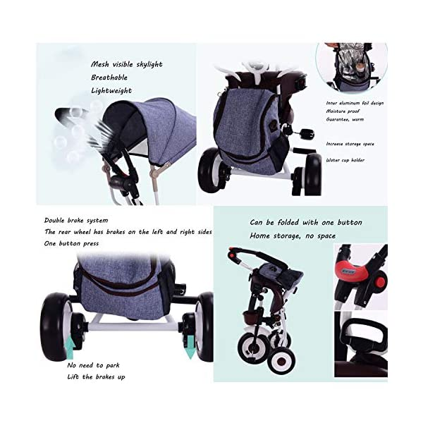 BGHKFF 4 In 1 Childrens Folding Tricycle 5 Months To 5 Years Silent Blockable Rear Wheels Childrens Tricycles Folding Sun Canopy Push Handle Child Trike Maximum Weight 60 Kg,Blue BGHKFF ★ 4-in-1 multi-function: convertible into stroller and tricycle. Remove the guardrail and awning as a tricycle. ★Material: Thick carbon steel, suitable for children from 5 months to 5 years old, maximum weight: 60 kg ★ Tricycle foldable, space saving, easy to carry, great gift: perfect gift for children's birthday or Christmas. Easy to assemble When you don't use it, you can fold it and store it in any corner. 8