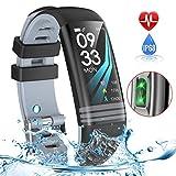 Yoolaite Fitness socken Uhr Wasserdicht Fitness Trackers mit Pulsmesser Farbbildschirm Smart Watch Aktivitätstracker Pulsuhren Schrittzaehler Stoppuhr Fitness Uhr für Damen Herren Kinder