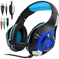 Cuffie Gaming per PS4 Xbox One, GM-1 Cuffie da Gioco con Microfono Stereo Bass LED Luce Regolatore di Volume per PS4 PC Cellulari per AFUNTA-Blu