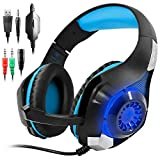 Cuffie Gaming per PS4 Xbox One, GM-1 Cuffie da Gioco con Microfono Stereo Bass LED Luce Regolatore di Volume per PS4 PC Cellulari per AFUNTA-Blu