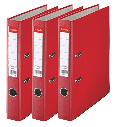 Esselte 624296 - Archivador con anillas, (Capacidad 550 hojas, 3 unidades), rojo, 50  mm