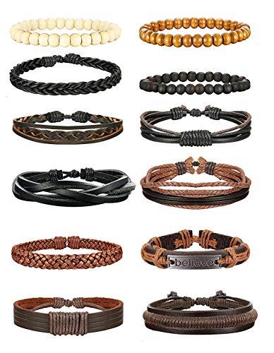Yadoca Armband Für Herren Frauen Unendlichkeitszeichen Anker Lebensbaum Bead Geflochtenes Leder Armband Set - Armband Bead Herren
