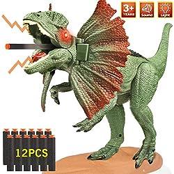 joylink Dinosaurios Juguetes, Grandes Dinosaurio Triceratops Jurassic World Realista de Dinosaurio con Sonidos Biónicos de Rugido y Ojos Brillantes Regalo para Niños Niñas, Verde