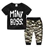 JEELINBORE Unisex Baby Outfit Set Mini Boss Gedruckt Kurzarm T-Shirt und Haremshose 2Pcs Casual Kleinkinder Bekleidungssets (Tarnung, 70)